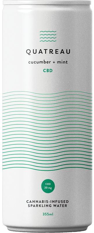 Can of cucumber + mint CBD infused sparkling water